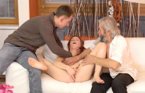 Gals maidens 3some with elderly..