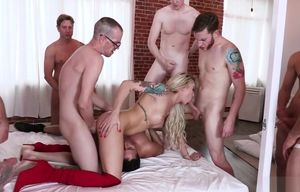 sloppy Aubrey lot group-fucked