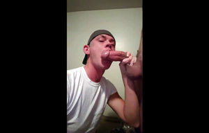Teenage  guy deep throating thick..