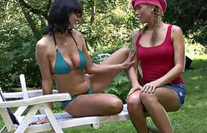 Buxom mommy and teenage porking outside